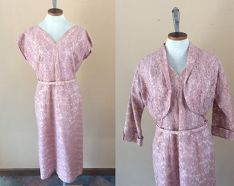 1940s Pink Dress and Jacket // A Norman Original // Lace dress