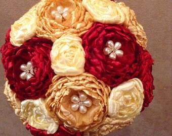 Fabric brooch bouquet, bridal bouquet, peony bouquet, wedding set red, ivory, Marsala bouquet, Marsala wedding, Marsala bridal bouquet
