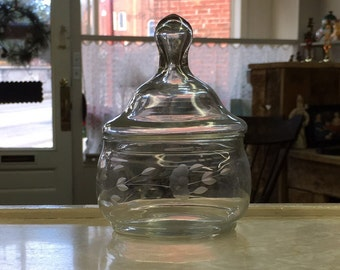Glass candy dish/container with lid