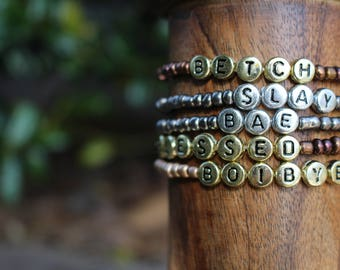 word bracelet, custom word bracelet, bracelets with words, friendship, blurb bracelet, slay bracelet, fun bracelet, sorority bracelet