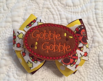Thanksgiving Gobble Gobble Turkey Bow