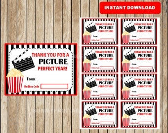 Thank You For A Picture Perfect Year Movie Gift Card, Teacher Appreciation Instant Digital Download