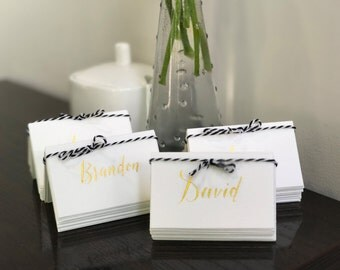 Wedding Calligraphy Placecards - Calligraphy Place Cards, Classic wedding, elegant, Name Writing, Gold lettering, Party, Birthday, Handmade