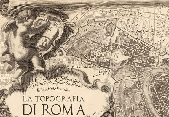 Map Of Rome Map Print Map Poster Rome Vintage Poster - Rome map cartoon