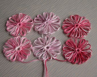 6 Loom Flowers Appliques using Crochet Cotton Pink Shades