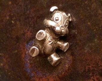 Vintage sterling silver teddy bear charm necklace pendant or keychain charm