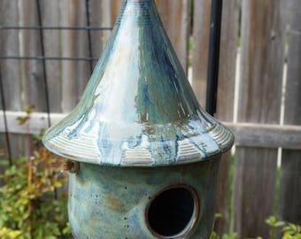 Handmade, wheel thrown, natural, blue, birdhouse