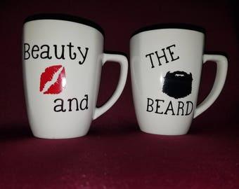 Beauty and the beard Custom Coffee Mugs
