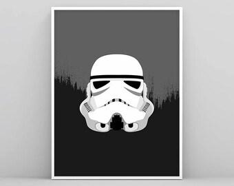 Stormtrooper Wall Art, Storm trooper Star Wars Poster, Black and White Star Wars Print, Printable Stormtrooper, Star Wars Art, Nursery Print