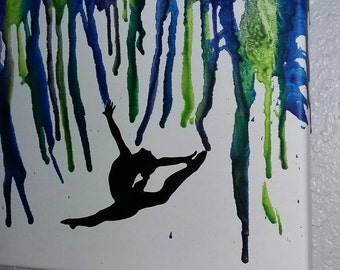 Crayon art,  gymnastics ,dance ballet , canvas melted wax