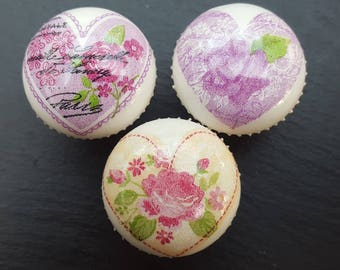 Hand Decorated Shabby Chic Hearts and Roses Design Drawer Knob Pull