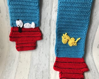 Snoopy and woodstock crochet scarf, peanuts scarf