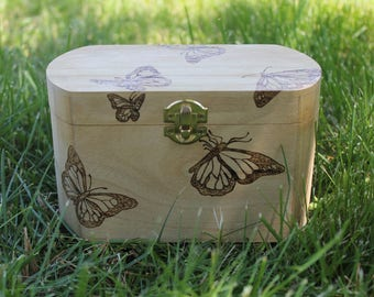 Butterfly Wood Burned Box
