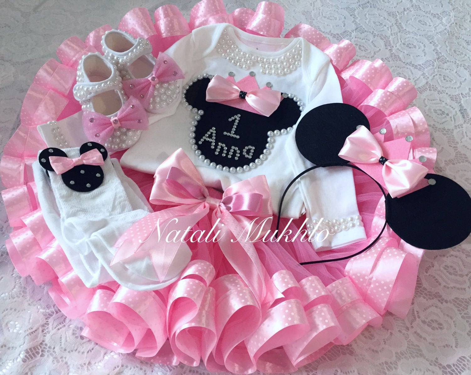 FREE SHIPPING Pink Minnie Mouse Birthday Tutu Outfit Disney