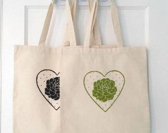 Reusable cotton tote, succulent heart print, hand screen printed. Free shipping in US!