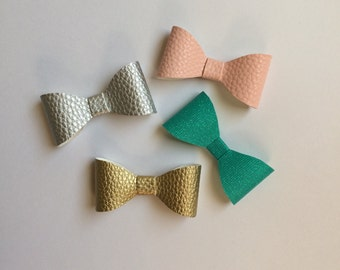 Faux Leather Bows, Baby Faux leather bows, Girl Faux Leather Bows, leather bows