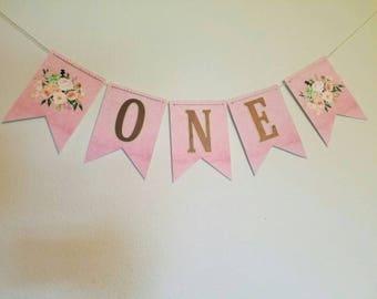 Floral highchair banner,  floral banner,  first birthday banner, one banner