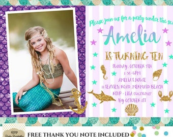 Mermaid Invitation Mermaid Birthday Invitation Mermaid Invitation Under The Sea Invitation Mermaid Birthday Party
