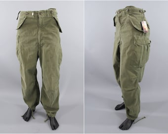 1950s Vintage US Army Pants / M-1951 Cold Weather Trousers / Cargo Pants / 34x28 / Korean War Era / OD Olive Drab Army Green