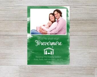 Custom christmas card,christian christmas card, religious christmas card, holiday card, nativity, watercolor, photo card, personalized