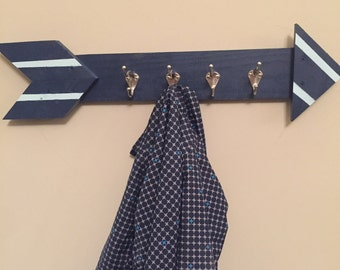 Navy blue with sea foam green stripes coat hanger
