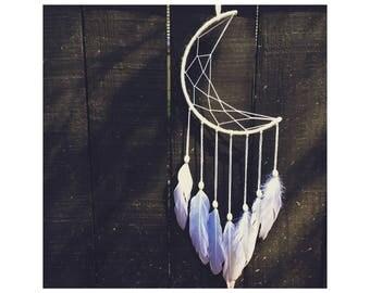 White  Crescent Moon Dreamcatcher