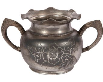FREE SHIPPING: Antique Vintage Victorian Quadruple Silverplate Etched Sugar Bowl