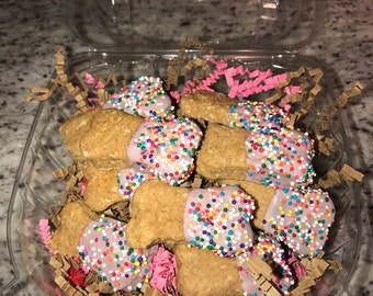 "Peanut Butter Yogurt 'PARTY"" Treats - Dog Bones snacks, cookies All Natural Baked to order - Birthday gift"