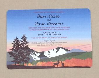 Longs Peak Colorado 5x7 Wedding Invitation/ Fall colors and 2 deer with A7 envelope - JA1