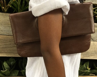 Convertible Brown Leather Clutch