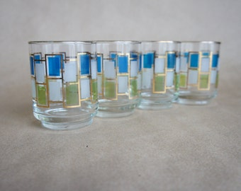 Vintage 1960s juice Glasses 4 Libbey Nordic pattern mid century gold trimmed geometric glassware blue green white 4 oz