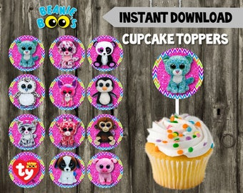 Beanie Boo Cupcake Toppers // DIY // 12 Beanie Boo Toppers // Instant Download // Printable // Pet Adoption Party // Beanie Boo Birthday