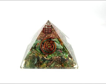 Jet Ruby Kyanite Orgone Pyramid 60 mm Jet International Free 40 page Crystal Therapy Booklet Gemstones Copper Metal Mix Rare Healing