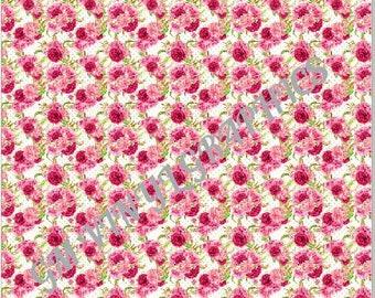 "Pink Floral Patterned Vinyl / Heat Transfer Vinyl / HTV  12""X18"" #1"