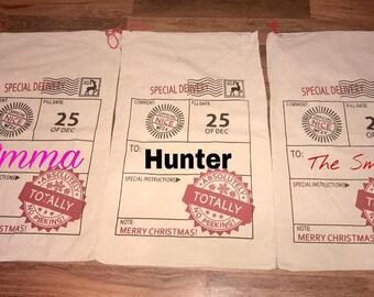 Custom Santa Sacks, Personalized Santa Sack - Christmas Gifts, Christmas tote, Holiday Sacks,  Holiday Bags,  Santa Sack,