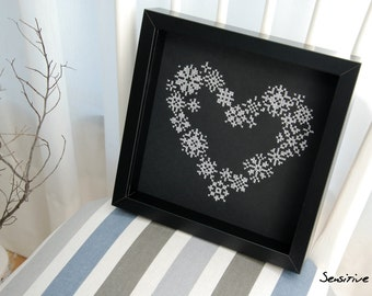 Board seminars heart embroidered snowflakes - cross stitch