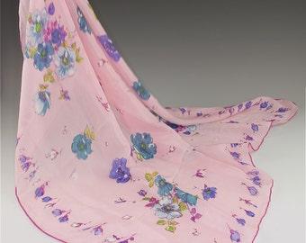 "Pink silk floral scarf  22"" hand-rolled hem circa 50's"