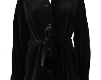 Emanuel Ungaro : black velvet JACKET, size M, vintage 80s