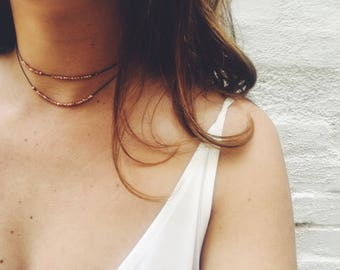 Rose gold layered choker
