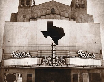 "San Angelo, Texas - ""San Angelo Texas Theater BW"""