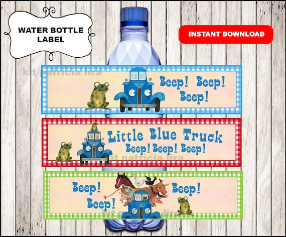 Little Blue Truck Water Labels Instant Download Little Blue