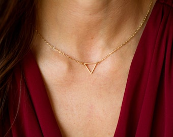 Dainty Gold Triangle Necklace - Delicate Gold Triangle Necklace - Gold Triangle Pendant Necklace - Bridesmaid Gift - Layered Luxe Jewelry