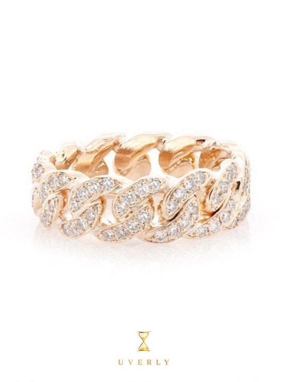 14k Solid Real Yellow Gold Miami Cuban Link Diamond 1.32ctw Eternity Band Ring All Sizes