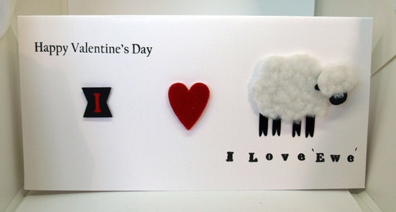 Valentine's Day  Card 'I love ewe (you) ' -luxury personalised unique quality special UK - Wife/Girlfriend/Husband/Boyfriend/Partner