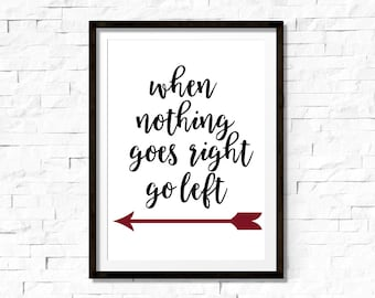 When nothing goes right go left, inspirational quote, motivational quote, black and white, typography art, black and white, printable quote