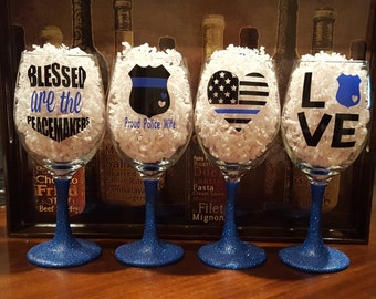 Glitter Dipped Wine Glasses-Support Police-Back the Blue-Proud Police Wife