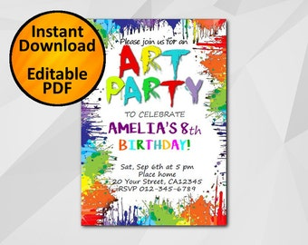 Art Birthday Invitation Instant Download -SALE 60% OFF-Art Party Editable diy invitation C031