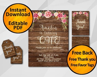 1st 13th 18th 21st 30th 50th  birthday invitation printable editable instant download SALE 60% OFF free thank you free favor tags X006w5