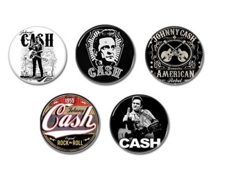 Country rock music inspired buttons set of 5! (25mm, badges, pins, botones)