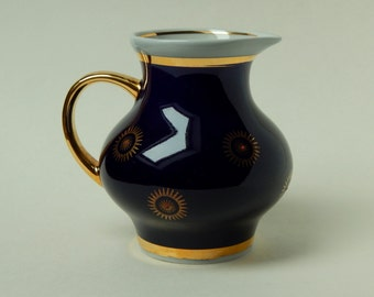 The milk carafe Soviet times, coffee service, coffee, blue pitcher, vintage kitchenware, dishes, pitcher with gilt